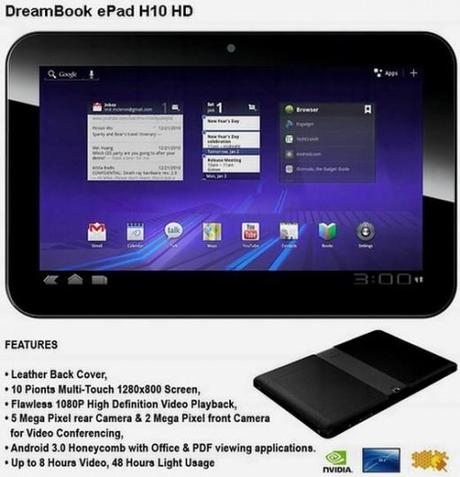 android pioneer dreamBook epad h10 hd tablette  520x540 Pioneer DreamBook ePad H10 HD sous Honeycomb