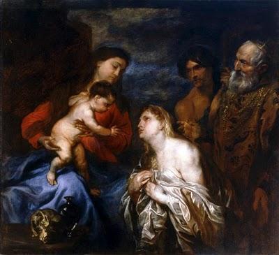 Van Dyck : La Vierge et l'Enfant avec des pécheurs repentants