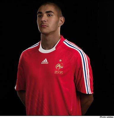 benzema maillot equipe france rouge