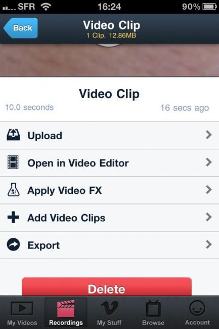 Vimeo lance son application iPhone