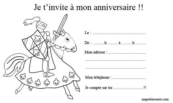 Chevaliers et dragons paperblog - Carte anniversaire coloriage ...