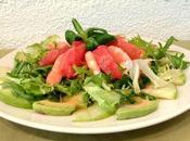 Salade crevettes, avocat, pamplemousse pomme verte