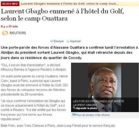 Laurent Gbagbo arrêté et emmené à l'hotel du Golf #civ2010