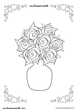 coloriage-princesse-emalia-bouquet-rose