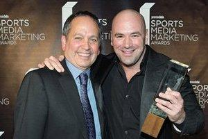 Spike TV president Kevin Kay and Dana White via Broadcasting and Cable