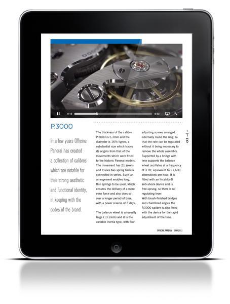 Screenshot iPad app Panerai II Naissance de Panerai Magazine, l'application Officine Panerai pour iPad