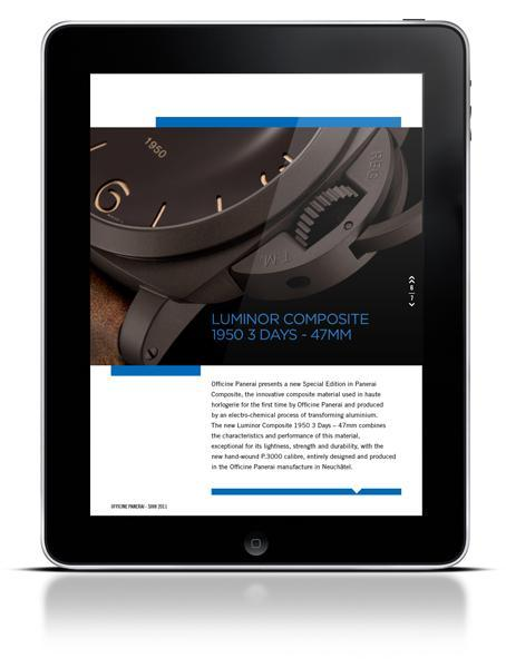 Screenshot iPad app Panerai III Naissance de Panerai Magazine, l'application Officine Panerai pour iPad