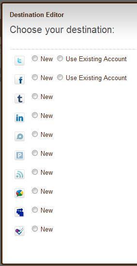 Choix des profils de destination du fluw RSS