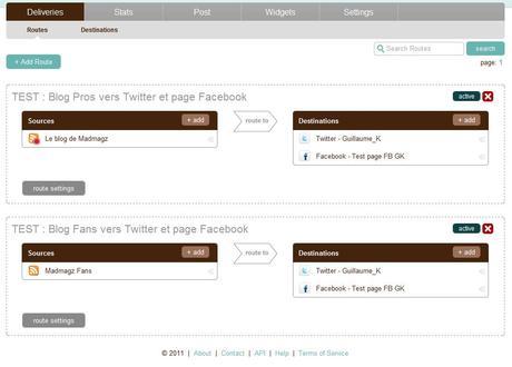 tableau de bord des flux et profils configurés pour la publication automatique