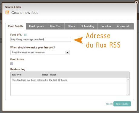 configurer l'adresse de son flux RSS sur dlvr.it