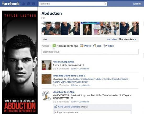 Page Facebook officielle du film Abduction