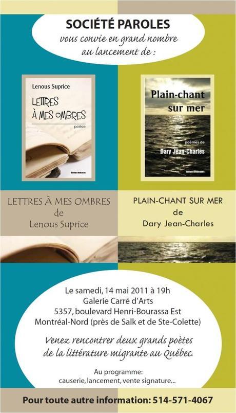 Lancement des recueils de poésie de Lenous Suprice et de Dary Jean Charles, samedi le 14 mai prochain