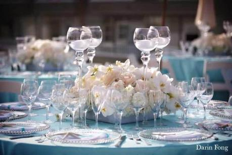 Decoration de mariage bleue thème mer