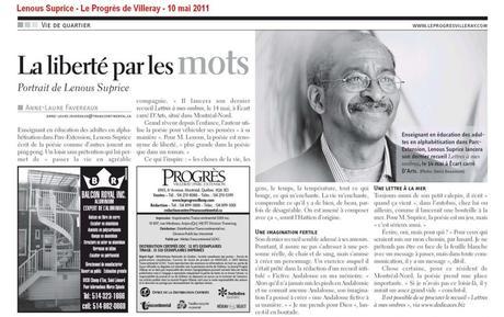 Le poète Lenous Suprice obtient un article de presse dans l'hebdomadaire « Le Progrès de Villeray » (10 mai 2011)