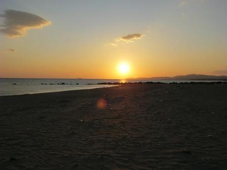 Le soleil se couche sur le lido d'Agrigento
