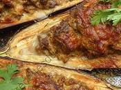 Aubergines farcies curry coriandre