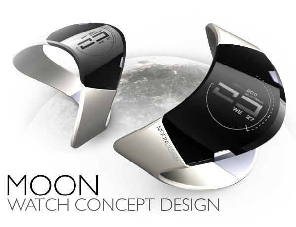 moon concept MoonWatch : un concept de montre LED ondulée