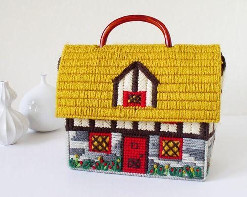 House shaped purse, handbag, needlework