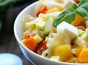Salade pâtes, poivrons confits feta