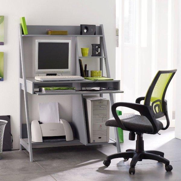 Un bureau tout en un et gain de place d couvrir for Bureau informatique gris