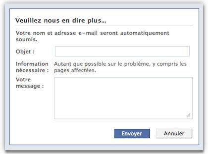 Facebook Formulaire contact supprimer