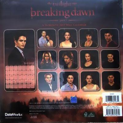 Le calendrier officiel de Breaking Dawn