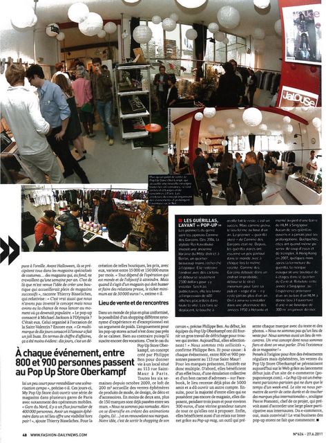 Le Pop Up Store dans Fashion Daily News du 27 juin 2011
