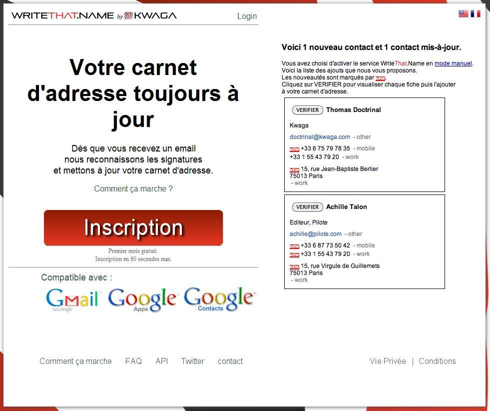 wn WriteThat.Name met à jour vos contacts Gmail
