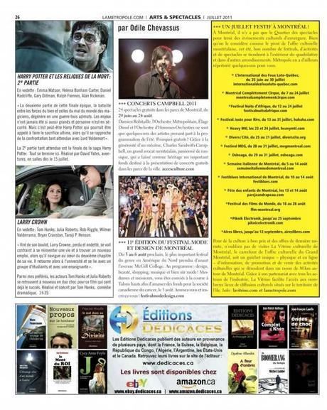Les Éditions Dédicaces s'offrent une publicité dans le journal « La Métropole » (Montréal, Québec) – 150,000 lecteurs