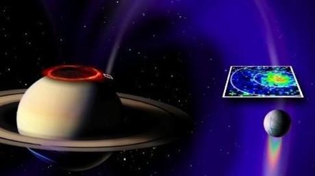 Sur Saturne, Encelade lance son propre flot d'électrons. Nasa