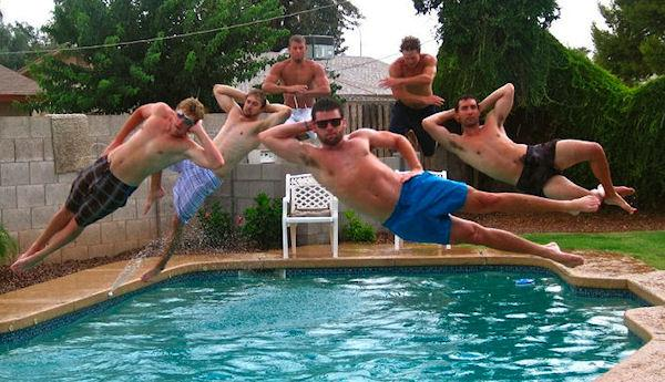 photo humour insolite homme piscine