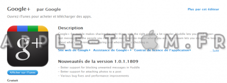 Application Google+ disponible