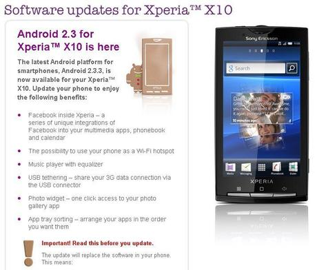 Sony Ericsson Xperia X10 : Mise à jour en Android 2.3 Gingerbread