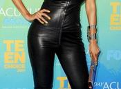 Tyra Banks combi cuir moulante flop