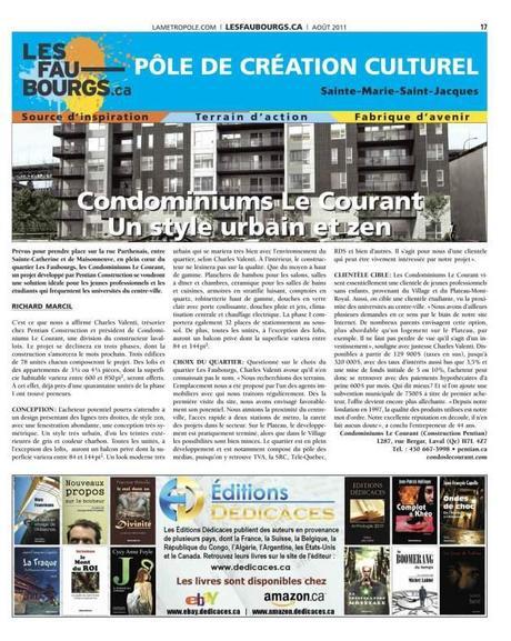 Les Éditions Dédicaces s'offrent une autre publicité dans le journal « La Métropole » (Montréal, Québec) – 150,000 lecteurs