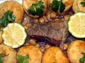 Lham khoukh croquettes pommes terre farcis sauce