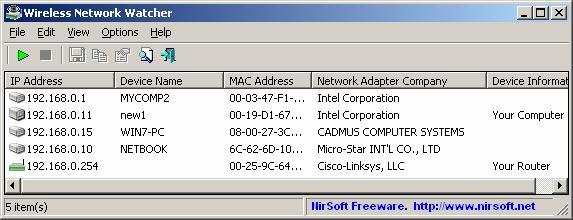 للتعرف على كل متصل بخطك Wifi مع Wireless Network Watcher