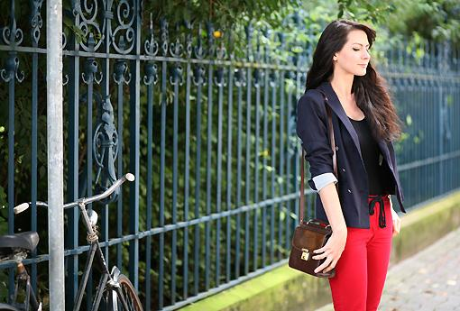 pantalon 7 8 rouge Red pepper look