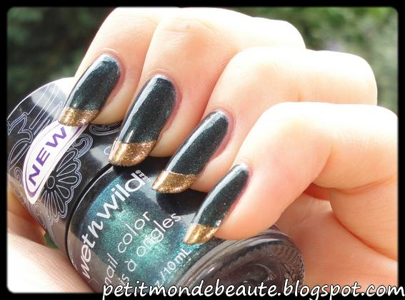 French manucure verte et or [Astuce pour les petits ongles]