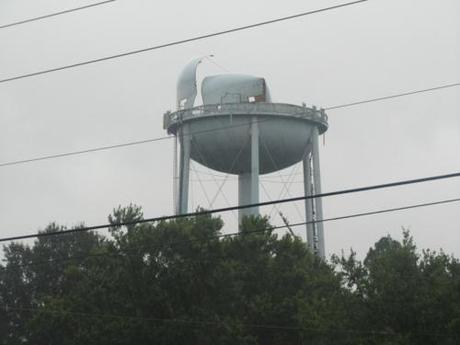 Damaged water tower in Cary, North Carolina. Image source .