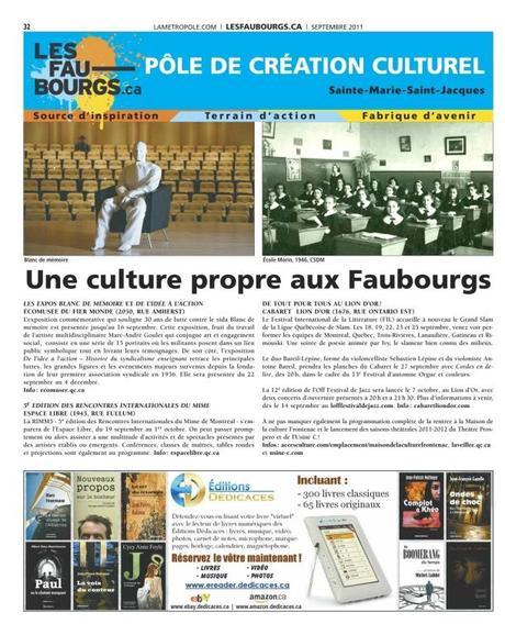 Les Éditions Dédicaces s'offrent une autre publicité dans le journal « La Métropole » (septembre 2011) – 150,000 lecteurs