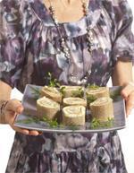 Mini-bûches de Ratte du Touquet au saumon