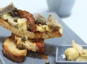 Tartines sardines, artichaut fondants