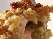 Crumble saumon fondue poireaux: fond croustille!