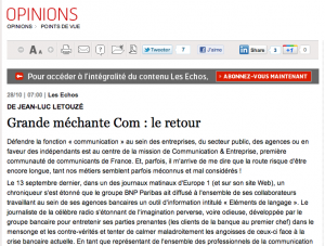 Tribune Jean-Luc Letouze, publiée dans Les Echos du 28 octobre 2011