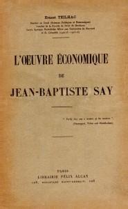 L'œuvre économique de Jean-Baptiste Say