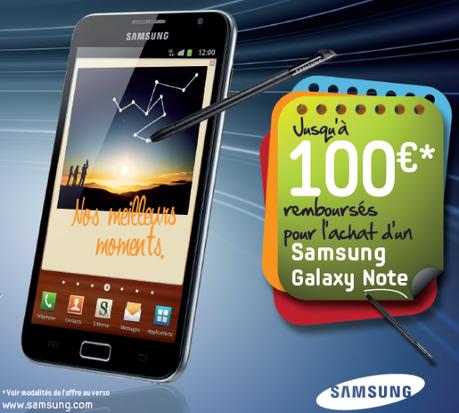 100€ remboursés sur tous les Galaxy Notes