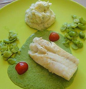 CABILLAUD FEVES PUREE AUX HERBES ET SON JUS D'HERBES PERSIL
