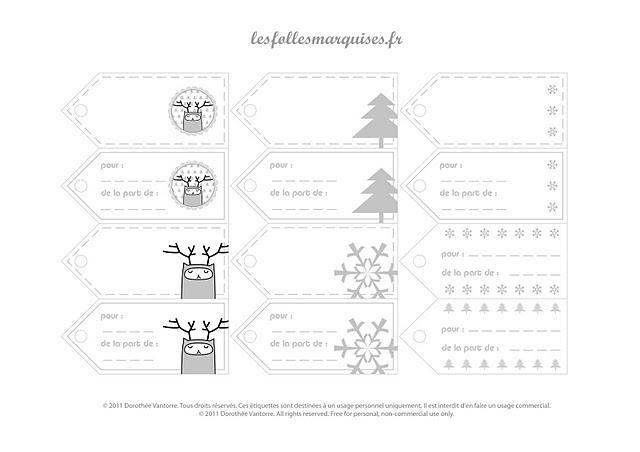 Bien connu Etiquettes pour cadeaux à télécharger - Gift labels to download  QQ71