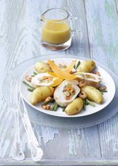 Ratte du Touquet et chapon farci dans un bouillon de crevettes